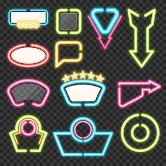 Set di segni al neon