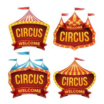 Set di segni del circo. segno di carnevale notturno.
