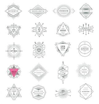 Set di segni di linea stile hipster ed emblemi con sunburst