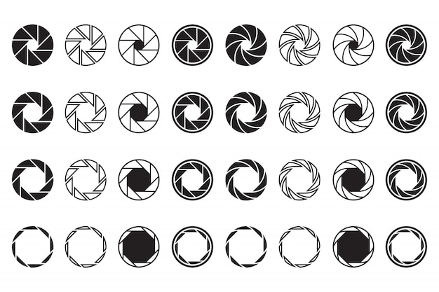 Set di segni di obiettivo della fotocamera