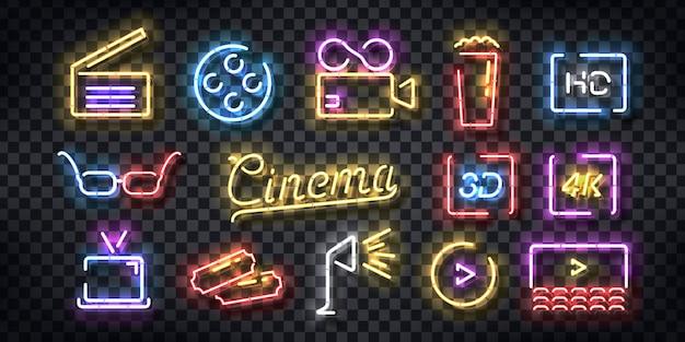 Set di segno al neon realistico del logo del cinema per la decorazione del modello e la copertura dell'invito sullo sfondo trasparente.