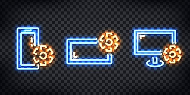 Set di segno al neon realistico del logo di riparazione per la decorazione del modello sullo sfondo trasparente.