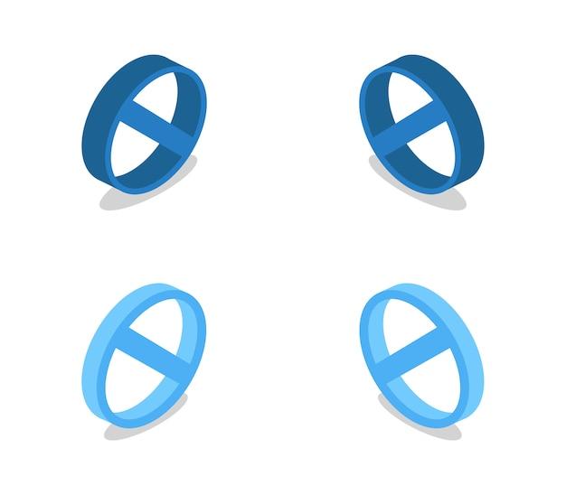 Set di segno proibitivo isometrico