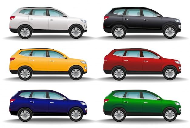 Set di sei auto di diversi colori su sfondo bianco. veicoli fuoristrada di lusso. crossover realistico. trasporto 4x4.