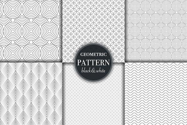 Set di sei motivi geometrici in scala di grigi in bianco e nero