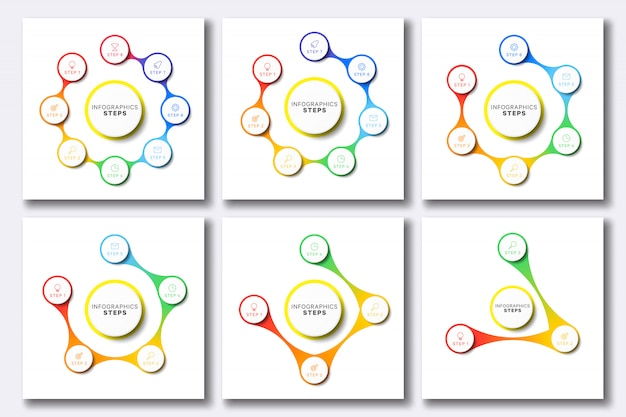 Set di semplici modelli di infografica con icone di marketing su bianco