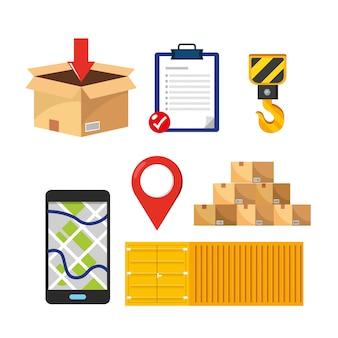 Set di servizi di consegna con contenitori e pacchi di scatole