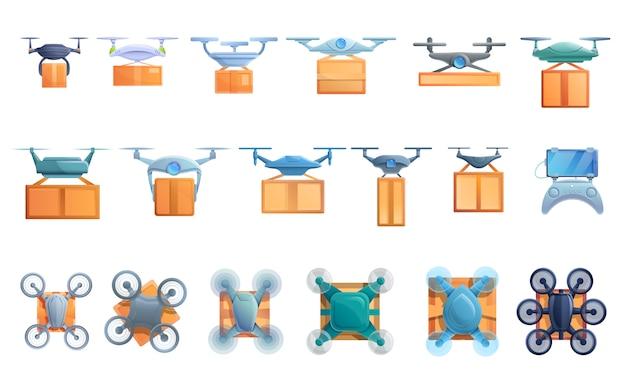 Set di servizi di consegna drone, stile cartoon
