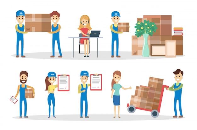 Set di servizi di consegna. persone con pacchi e scatole.