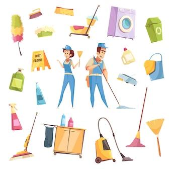 Set di servizi di pulizia
