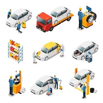 Set di servizi di riparazione auto isometrica