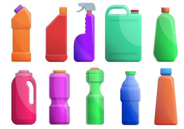 Set di servizi igienici più puliti, in stile cartone animato