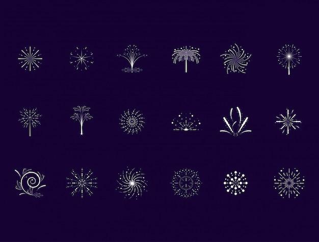 Set di set di icone di scena di fuochi d'artificio
