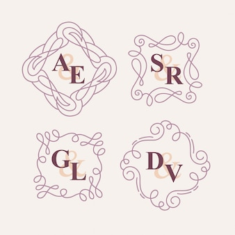Set di set di monogrammi floreali matrimonio