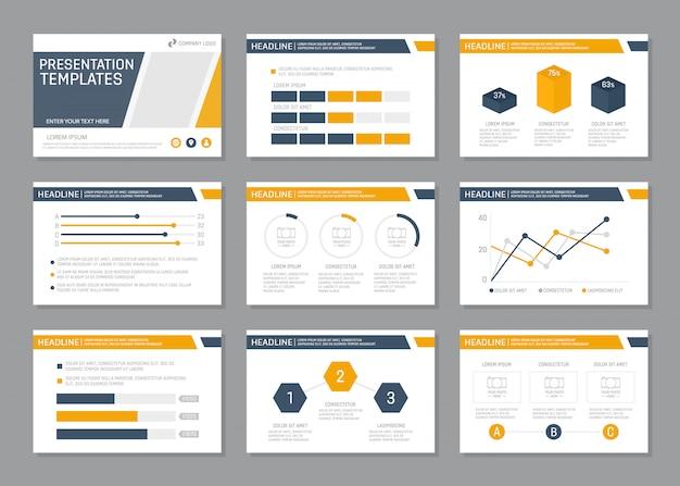 Set di set di presentazione aziendale blu e arancione