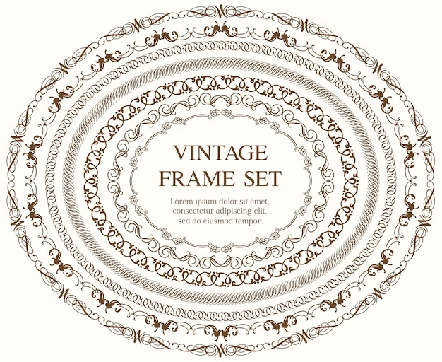 Set di sette cornici ovali vintage isolato su uno sfondo semplice. illustrazione.