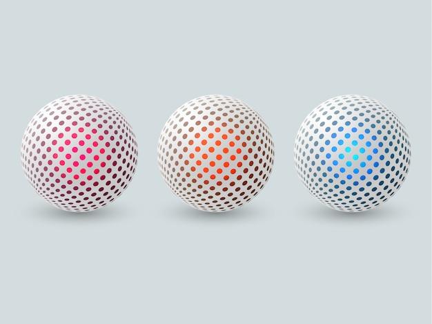 Set di sfere 3d astratte.