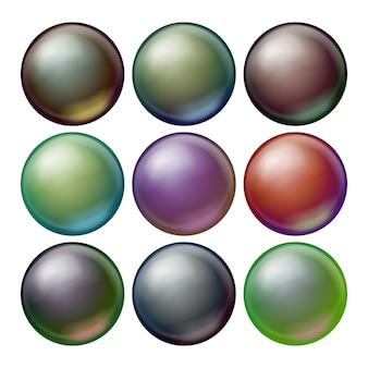 Set di sfere scure.