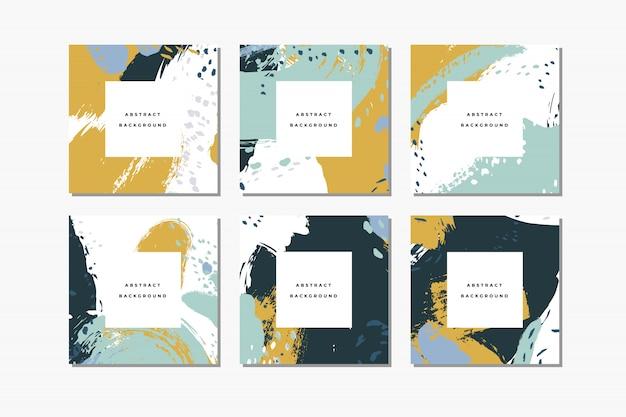 Set di sfondi astratti disegnati a mano quadrati pastello con pennellate artistiche e macchie di vernice.