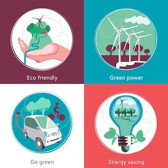 Set di sfondi di concetto di ecologia piatta