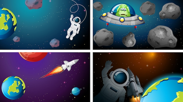 Set di sfondi di diverse scene dello spazio