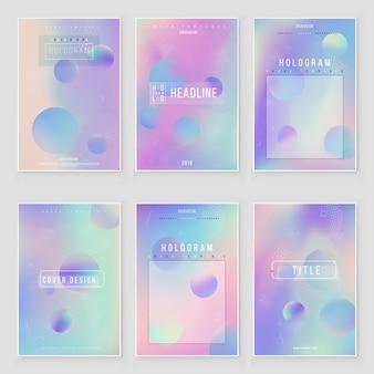 Set di sfondi iridescenti sfumati di lamina olografica luminoso ologramma alla moda. iridescente