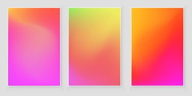 Set di sfondi iridescenti sfumati di lamina olografica. luminoso ologramma minimalista alla moda