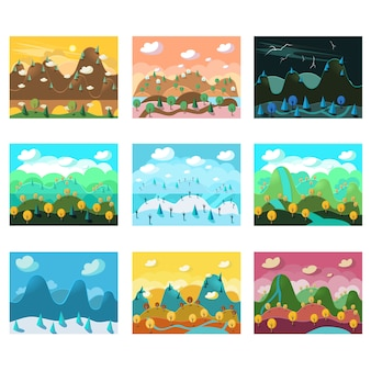 Set di sfondi senza giunte del fumetto di paesaggio