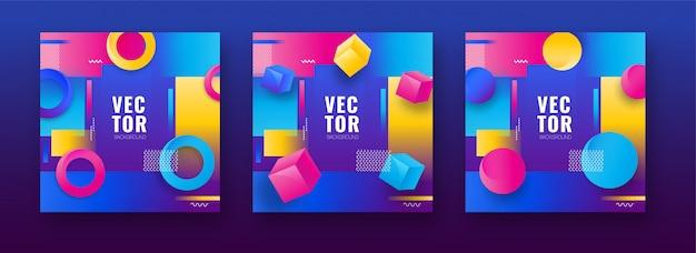 Set di sfondo colorato disegno astratto con forma geometrica