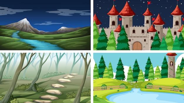 Set di sfondo del paesaggio di natura