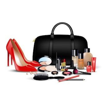 Set di sfondo di cosmetici. ragazze alla moda