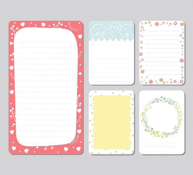 Set di sfondo di design per notebook