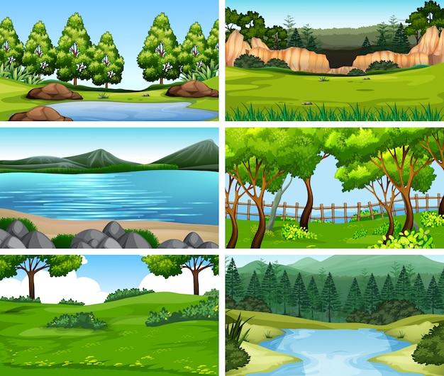 Set di sfondo di diverse scene della natura