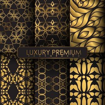 Set di sfondo di lusso con colore oro