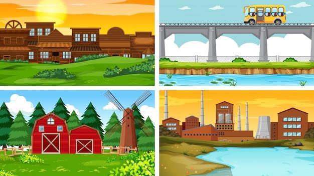 Set di sfondo di scene di natura all'aperto