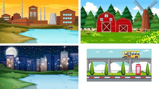 Set di sfondo diverso paesaggio