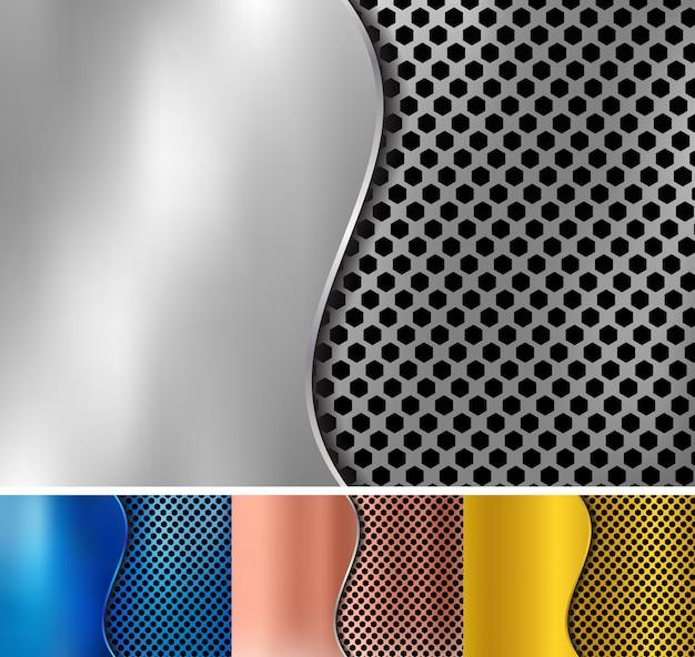 Set di sfondo metallico