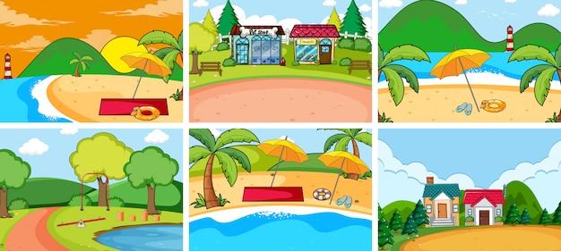 Set di sfondo natura piatta