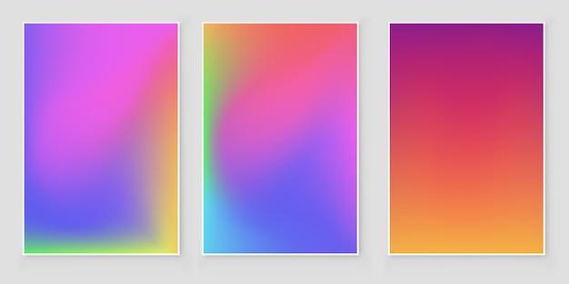 Set di sfondo sfocato ologramma offuscata astratto sfondo olografico iridescente.