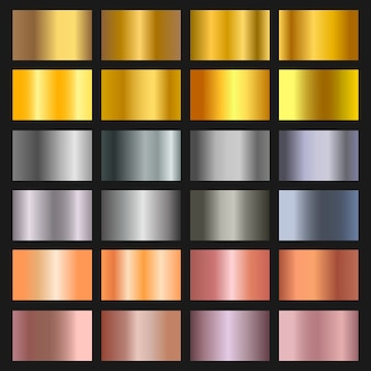 Set di sfondo sfumato oro, bronzo e argento. collezione di sfumature dorate e metalliche per bordo, cornice, nastro, disegno dell'etichetta. campione di colore.