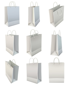 Set di shopping bag bianco carta bianca