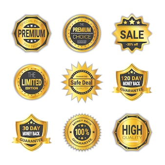Set di shopping distintivo offerta speciale o scudo di alta qualità emblema raccolta isolato