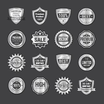 Set di shopping distintivo vendita o scudi emblema di alta qualità sigilli
