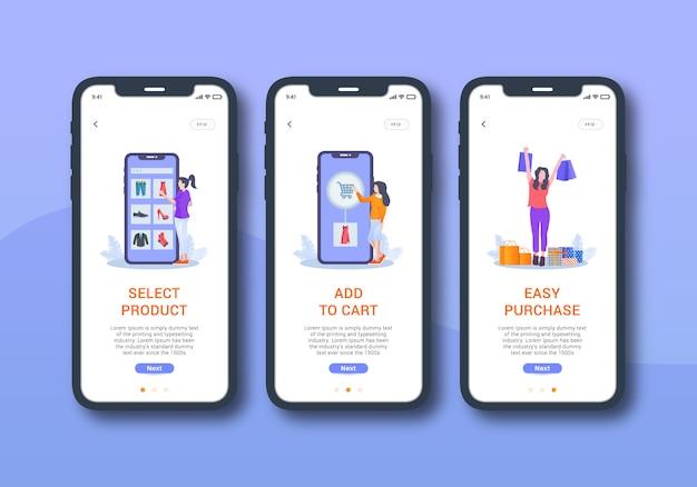 Set di shopping online dell'interfaccia utente mobile sullo schermo di onboarding