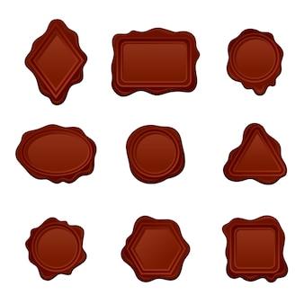 Set di sigilli di cera di diverse forme. simboli postali vecchio stile. elementi decorativi per invito o lettera