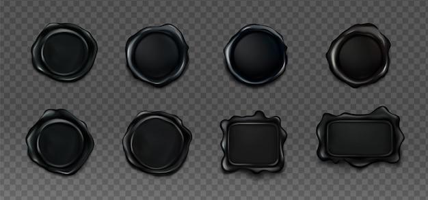 Set di sigilli di cera nera per lettera e busta