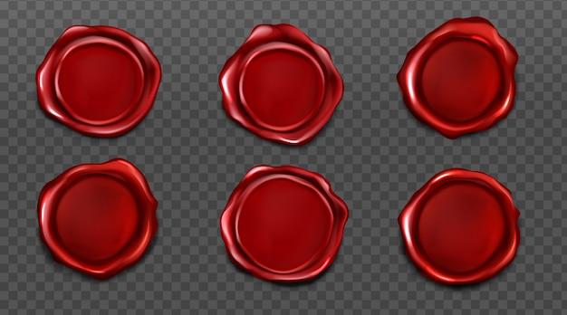 Set di sigilli di cera rossa per lettera e busta