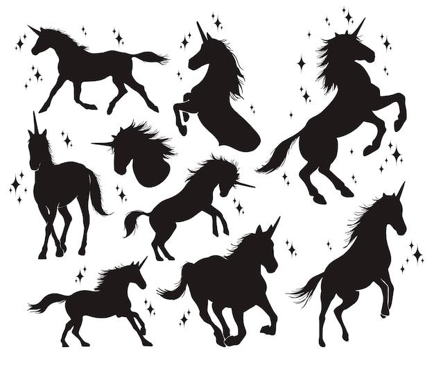 Set di silhouette di unicorno
