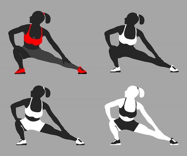 Set di silhouette sport pose fit donna. illustrazione vettoriale