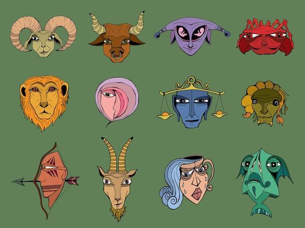 Set di simboli astrologici dello zodiaco disegnati a mano